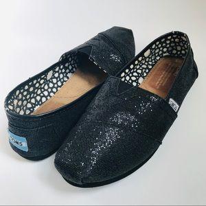 TOMS Black Sparkle Slip-on Alpargatas Sneakers